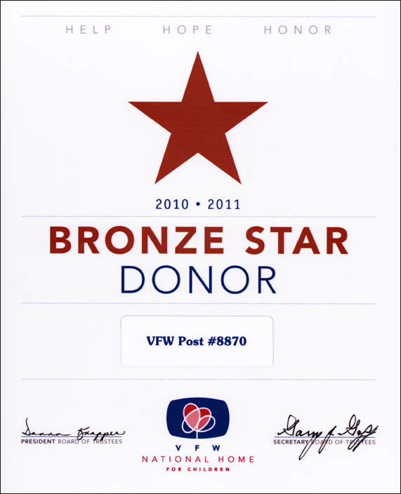 Bronze Star Donor Award