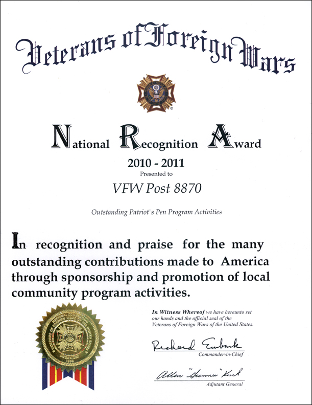 NRA Patriot's Pen Program Award 2010-2011
