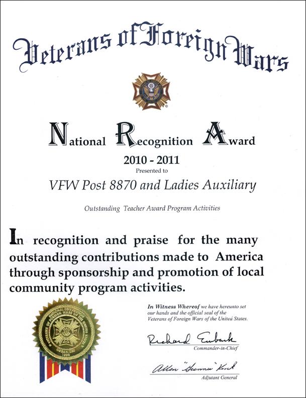 NRA Teacher Program Award 2010-2011