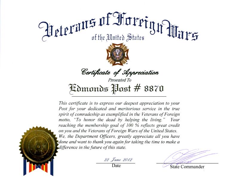 Certificate 6/22/012
