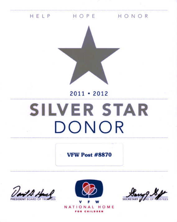 Silver Star Donor 2011-2012