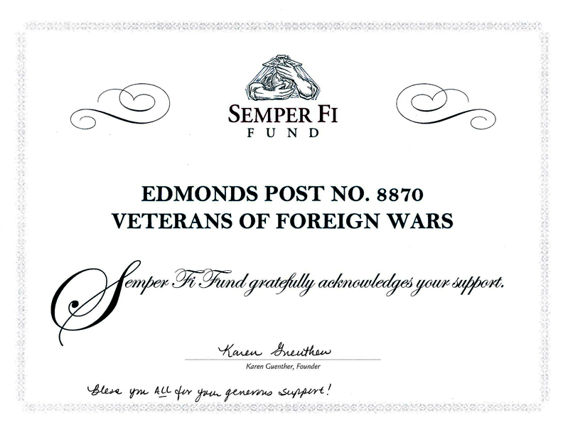 Virtual award wall vfw post 8870 and auxiliary for Semper fi fund rating