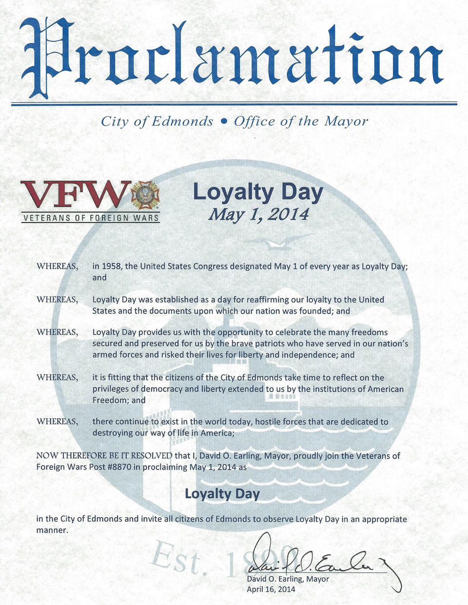 Proclamation Loyalty Day, City of Edmonds, May 1, 2014