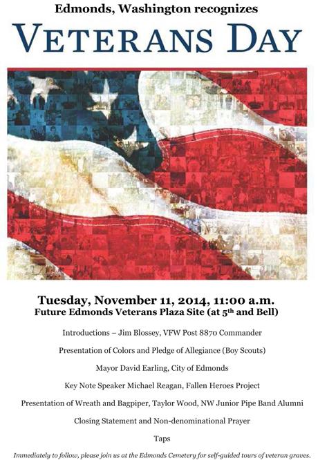 Edomonds WA Veterans Day Poster 2014