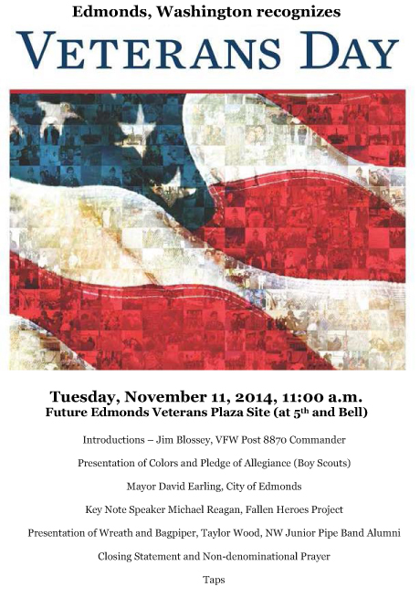Edmonds Washington Veterans Day Poster