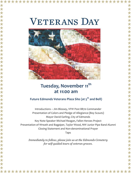 Edomonds WA Veterans Day Program 2014