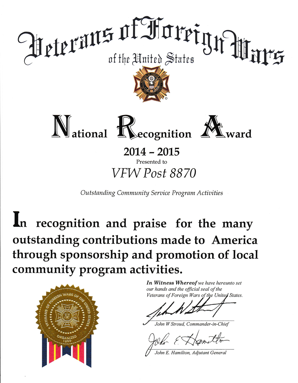 National Recognition Award - Outstanding Community Program Activities Service