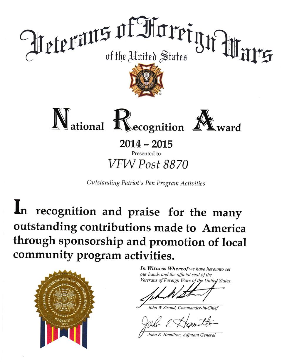 National Recognition Award - Patriots Pen