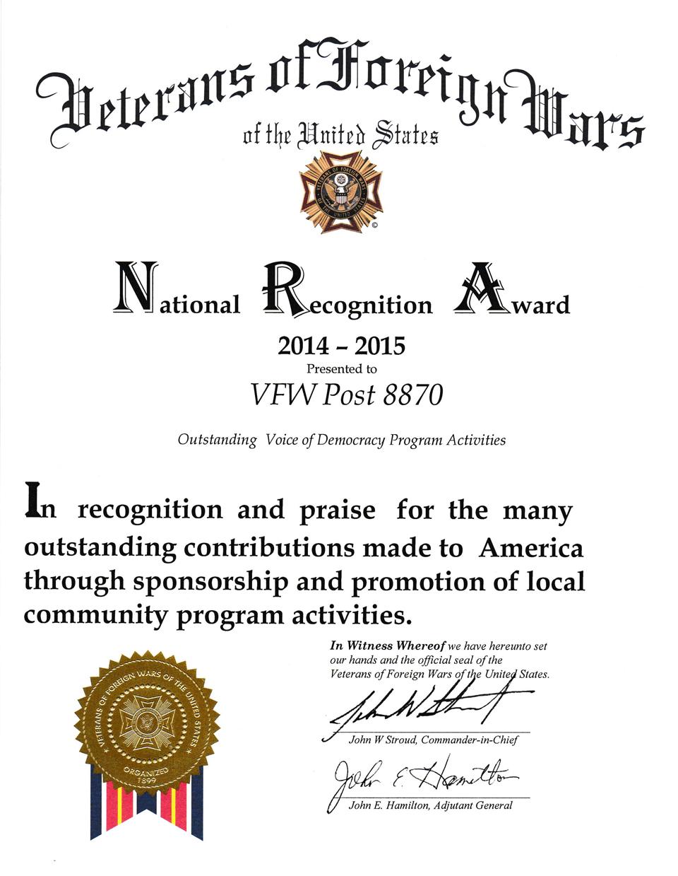 National Recognition Award 2014-2015 Outstanding Voice of Democracy Program Actibities