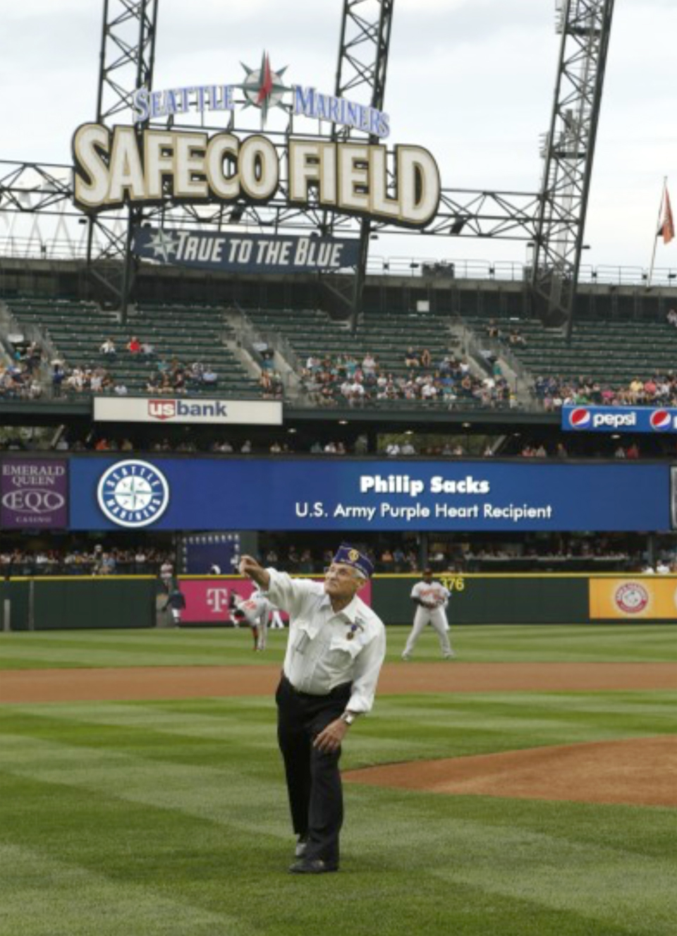 Purple Heart Night at the Mariners: Our Own Phil Sacks Throws Out First Pitch