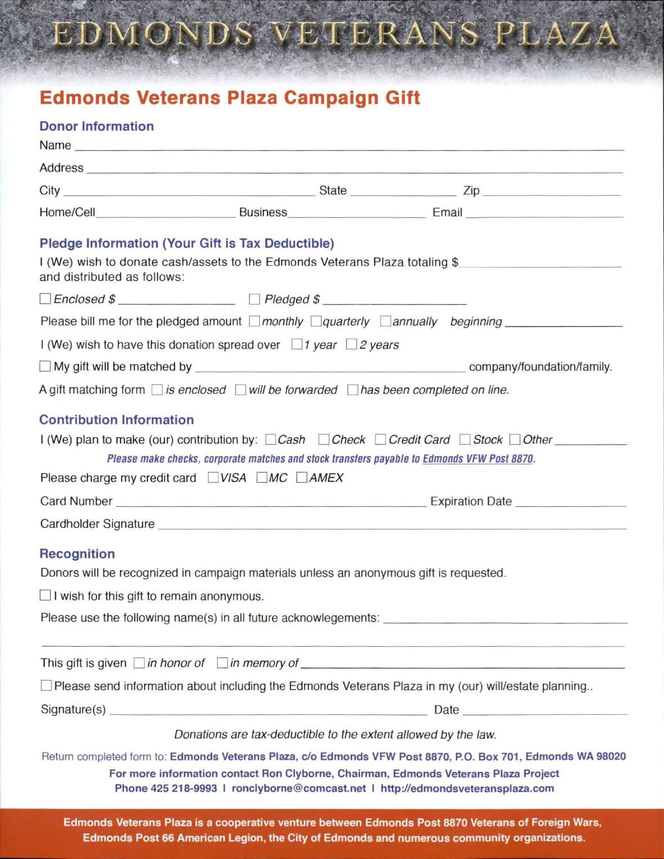 Edmonds Veterans Plaza Campaign Gift Form