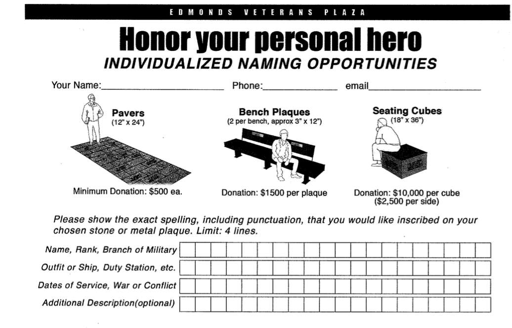Edmonds Veterans Plaza Individualized Naming Opportunities