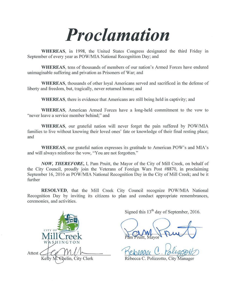 POW MIA Mill Creek Proclamation