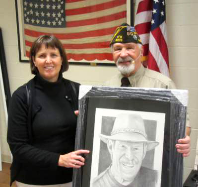 At our regular monthly meeting on November 15, in addition to routine Post business, Commander Terry Crabree presented Michael Reagan's portrait of Wesley Fisk to his daughter