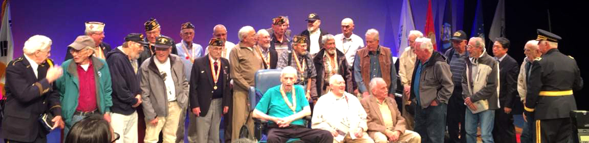 Korean War Vets gathered for a group photo following the ceremony. Legion and VFW members were joined by unaffiliated veterans