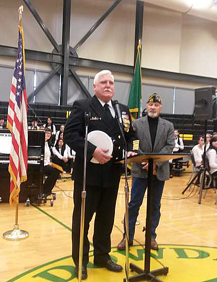8870 member Jon Koenig speaking at Meadowdale MS with Post Commander Terry Crabtree.
