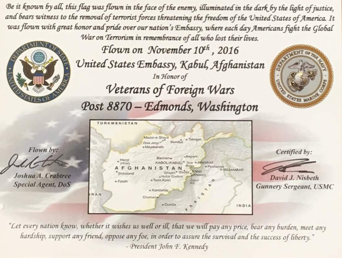 Post Honored With Flag Flown Over U.S. Embassy in Kabul, Afghanistan