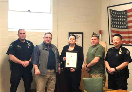 Detective Nicole Stone  Post 8870, District 1 & Department of Washington  Law Enforcement Officer of the Year