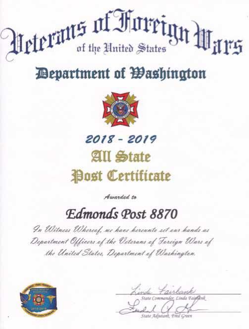 District 1 Commander Visits Post 8870 Presents 2018-19 Awards